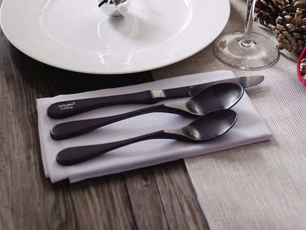 Matte Black Titanium Flatware: 20-Piece Set