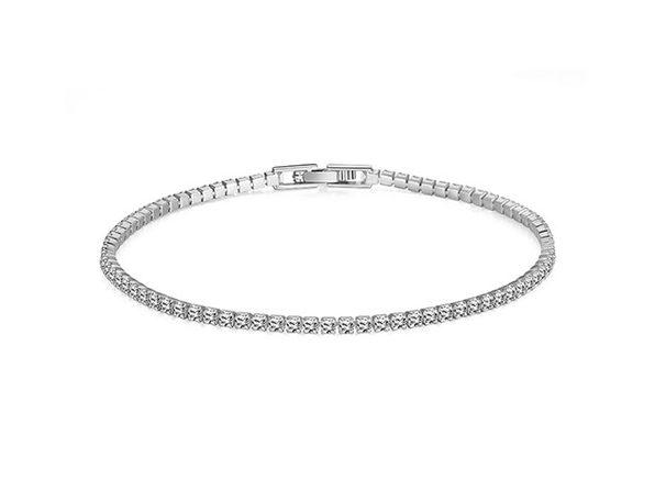 Classic Round Tennis Bracelet Ft. 3mm Swarovski Crystals (Silver)