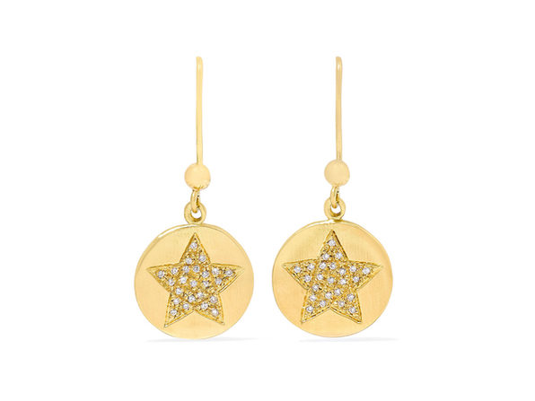 Homvare Women's 925 Sterling Silver Sparkling Star Drop Earrings - Gold