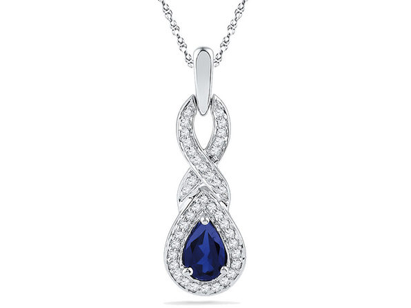 1/2 Carat (ctw) Lab-Created Blue Sapphire Infinity Pendant Necklace in 10K White Gold with Diamonds 1/8 Carat (ctw) - Product Image
