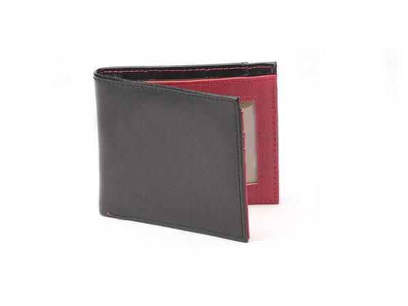 Vault RFID-Blocking Leather Wallet (Black/Burgundy)