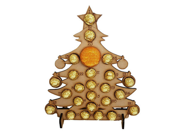 Wooden Advent Calendar Chocolate Stand (Christmas Tree)