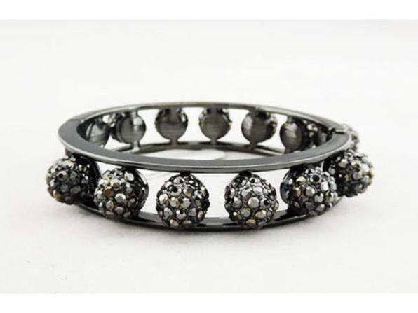 INC International Concepts Hematite-Tone Metallic Hinged Bangle Bracelet