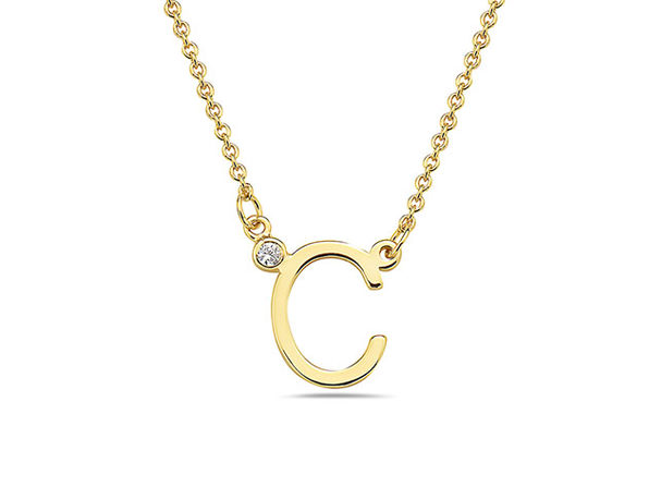 18K Gold Plated CZ Initial Necklaces - C - Product Image