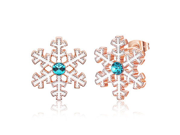 Snowflake Stud Earrings with Blue Swarovski (Rose Gold)