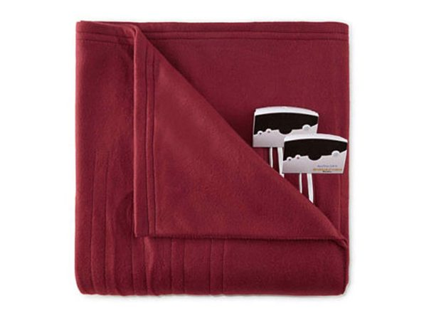 Biddeford 1000-9052106-302 Comfort Knit Fleece Electric Heated Blanket Twin Red