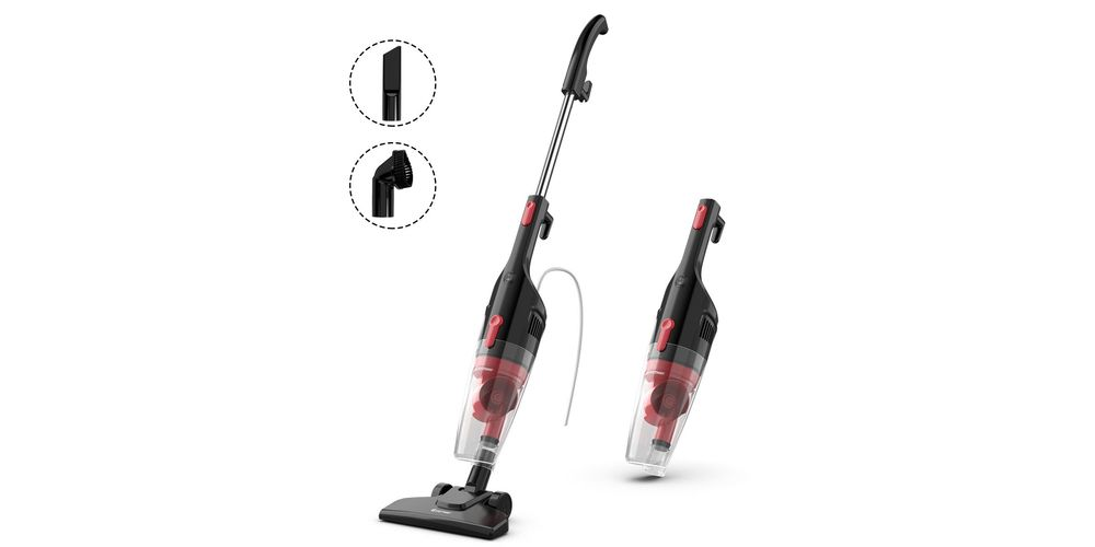 Costway 6-in-1 Handheld Stick Vacuum Cleaner 600W Corded w/ 16KPa Suction & Filtration – Grey+Red