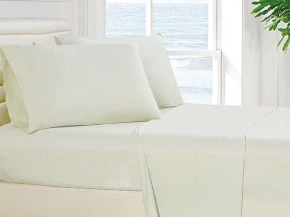 4-Piece Checkered White Sheet Set