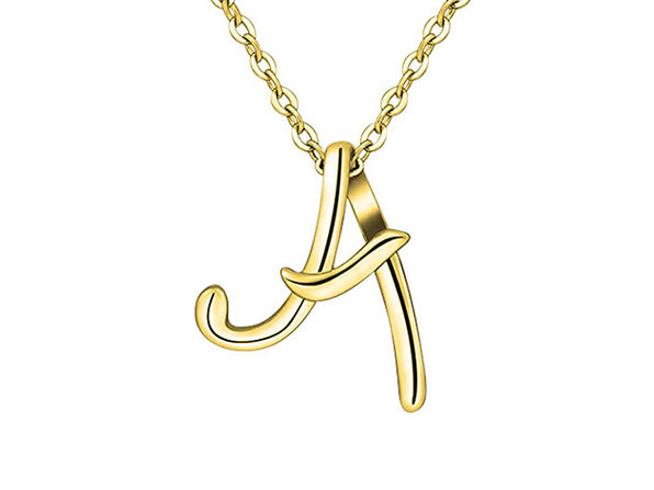 Rachel Glauber 18k Gold Plated Initial Necklace