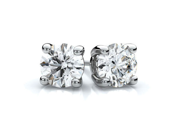 White Gold Sterling Silver 4-Prong Diamond Stud Earrings (4mm)