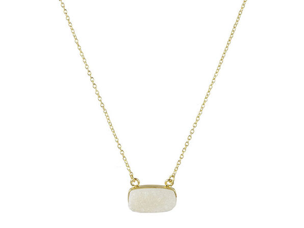 Druzy Bar Necklace in Ivory - Product Image