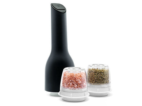 Finamill™ Bundle: Spice Grinder, Tray, 3 Pods, & 3 AA Batteries (Gray)