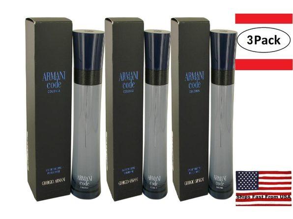 3 Pack Armani Code Colonia by Giorgio Armani Eau De Toilette Spray 4.3 oz for Men - Product Image