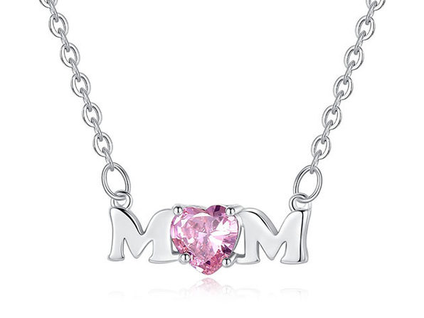 Mom Necklace Pendant 8k Gold with Pink Heart Stone Cubic Zirconia - Product Image