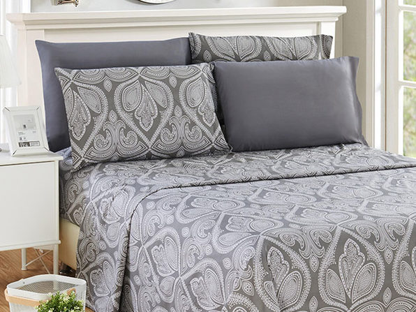 Paisley Microfiber Sheet Set (Grey)