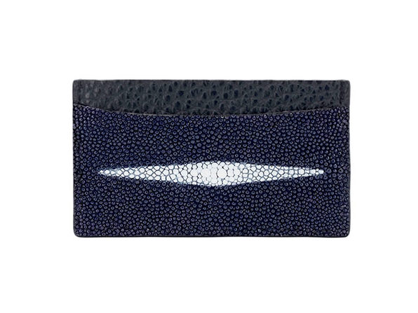 Andre Giroud Exotic Stingray Card Holder (Navy Blue)