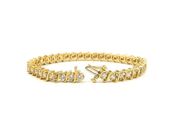 "18k Sterling Silver Tennis Round ""s"" Bracelet Round ""S"" Yellow - Product Image"