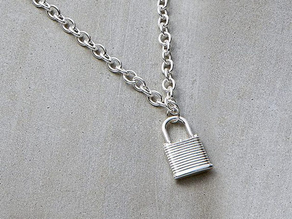 Padlock Chain Necklace (Silver)