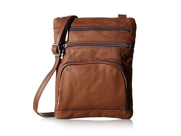 Ultra-Soft Leather Crossbody Bag - Brown - Product Image