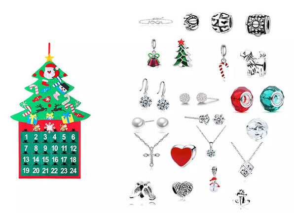 25-Piece Jewelry Advent Calendar with Swarovski Crystals (Tree)