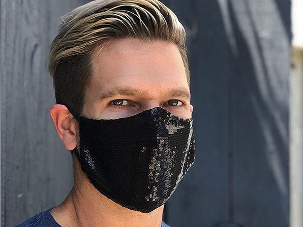 Sequin Face Mask (Black / Adult Size)