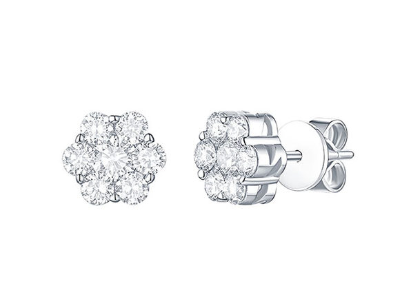 Essentials 1CT Lab-Grown Diamond Cluster Earrings in 10K White Gold