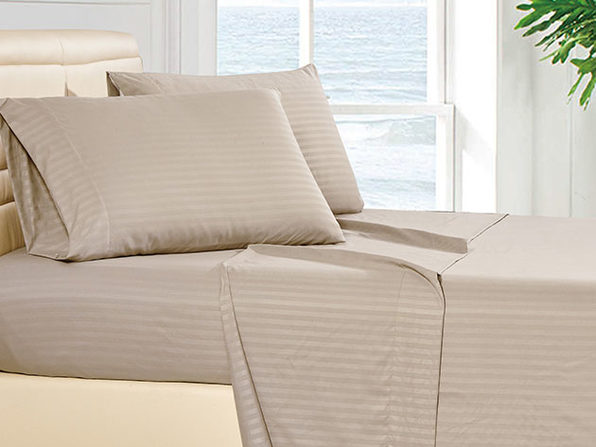 Luxury Ultra Soft 4-Piece Stripe Sheet Set (Taupe)