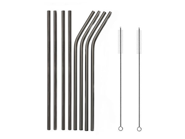 Stainless Steel Straws 8 Pack with 2 Cleaning Rods-Black - Product Image