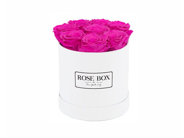 Small White Box with Neon Pink Roses