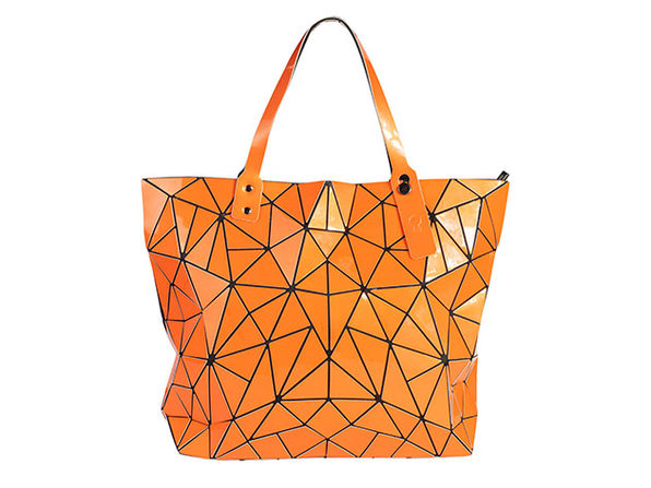 Geo Shaped Tote with Zipper - Orange - Product Image