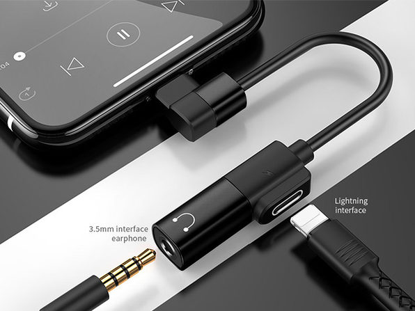 Joyroom 2-in-1 Dual Headphone & Charger Adapter (USB-C/Black)