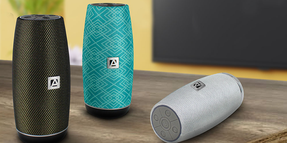 Three portable bluetooth speakers
