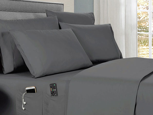 Kathy Ireland 6-piece Smart Sheet Sets w/ Pocket - Grey - Full - Product Image