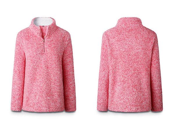 Half-Zip Pink Fleece Pullover (Medium)