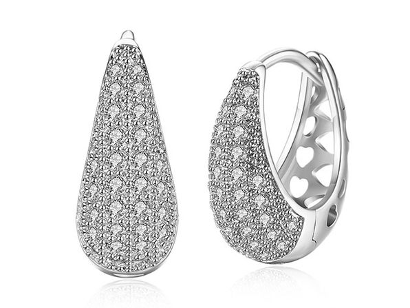 Teardrop Huggie Earrings with Micro-Pav'e Swarovski Crystals (Silver)