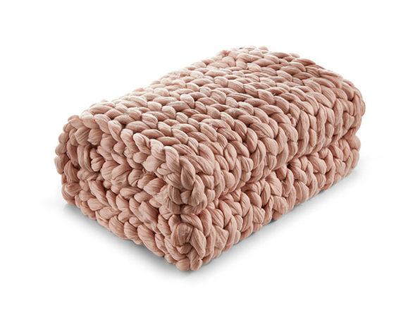 """Cozy Tyme Manon Chunky Knit Throw (Blush/40""""x60"""")"""