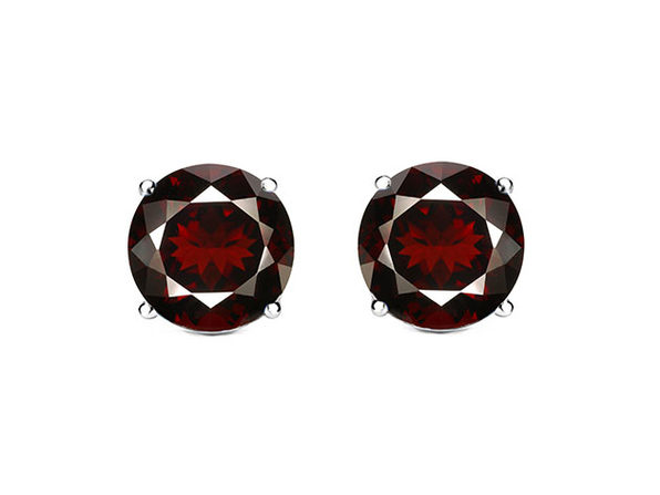 1CT Sterling Silver Gemstone Stud Earrings in Garnet