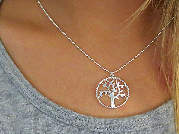 Solid Sterling Silver Tree Of Life Necklace - Product Image