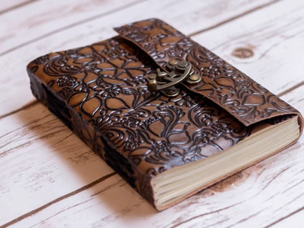 Floral Embossed Latch Leather Journal