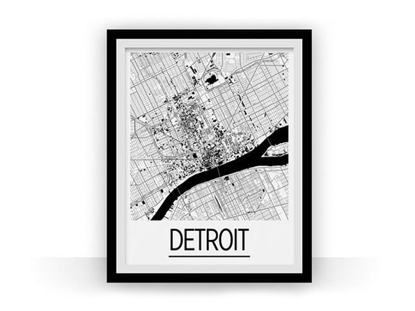 Detroit Art Deco Map Print (18 x 24)
