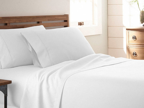 Home Collection Premium Ultra Soft 4-Piece Bed Sheet Set (White/Queen)