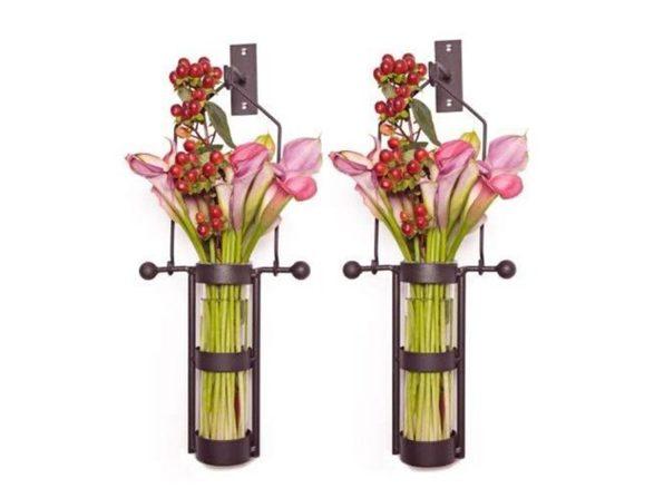 Danya B Metal Cradle Hook Wall Mount Hanging Recycled Glass Cylinder Vase Set (Like New, Damaged Retail Box) - Product Image