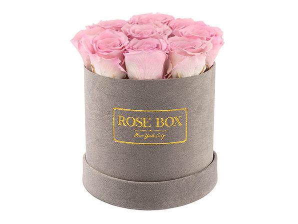 Rose Box™ Velvet Gray Box & Long-Lasting Roses (Light Pink)
