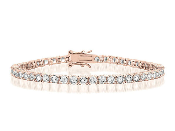 10 Carat Vivid Flawless 4mm Tennis Bracelet in 14k Rose Gold Plated Finish
