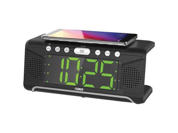 Naxa NRC190 Dual Alarm Clock with Qi Wireless Charging - Product Image