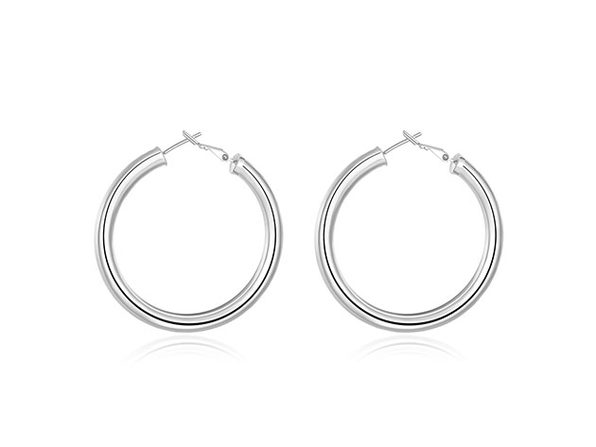 "2"" 18K Gold Plated Tube Hoop Earrings (Silver)"