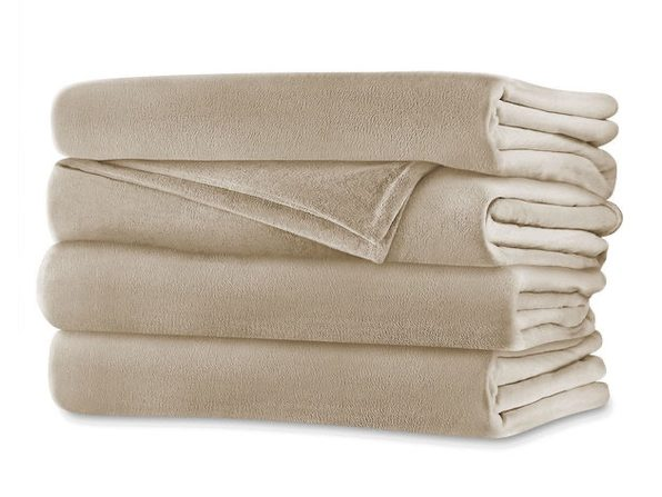 Sunbeam Velvet Plush Electric Heated Blanket Queen Size Sand Washable Auto Shut Off 20 Heat Settings - Sand