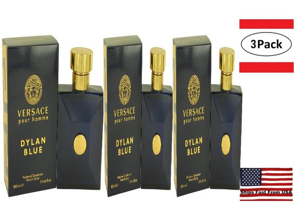 3 Pack Versace Pour Homme Dylan Blue by Versace Deodorant Spray 3.4 oz for Men - Product Image