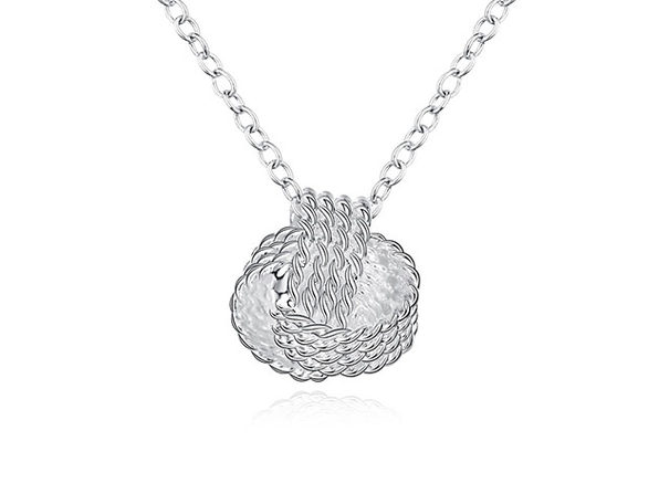 Mesh Knotted Ball Drop Necklace (Silver)