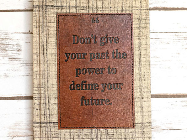 """Don't Give Your Past..."" Brown Plaid Patch Journal"